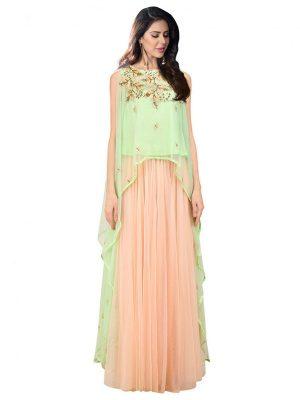 Mint Green Net Zardosi Work Prathyusha Garimella Designer Crop Top With Skirt