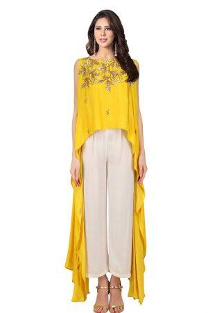 Yellow Crepe Embroidery Work Prathyusha Garimella Designer Top With Plazzo Pant