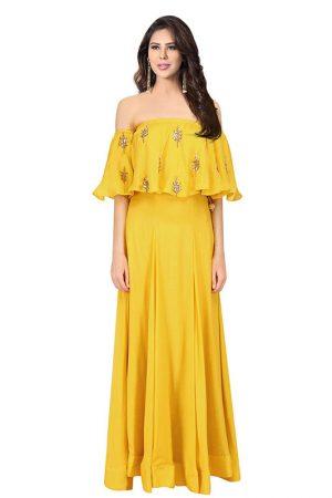 Yellow Crepe Embroidery Work Prathyusha Garimella Off Shoulder Top With Skirt