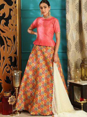 Pink Jacquard Silk Party Wear Sequence Work Lehenga Choli