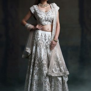 White Satin Wedding Wear Embroidery Machine Work Lehenga Choli