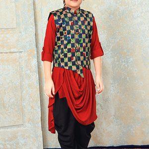 Red Rayon Festival Wear Printed Work Kids Kurta Pajama