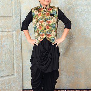 Black Rayon Festival Wear Printed Work Kids Kurta Pajama
