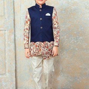 Beige Cotton Festival Wear Diamond Work Kids Kurta Pajama