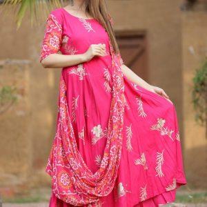 Raksha Bandhan Special Pink Bandhani Hand Block Gown