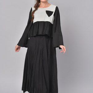 Women Black & White Colourblocked A-Line Kurta