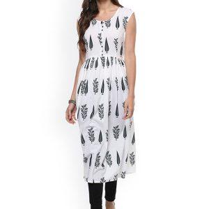 Women White Printed Anarkali Kurta