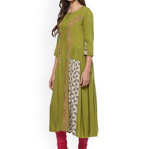 Women Green Embroidered A-Line Kurta