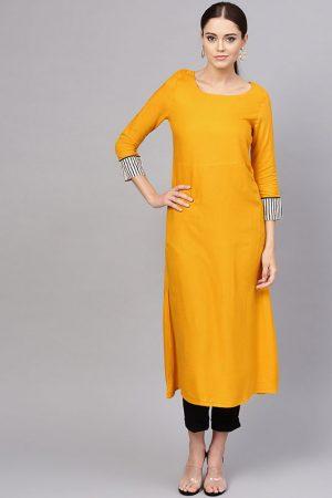 Women Mustard & White Solid A-Line Kurta