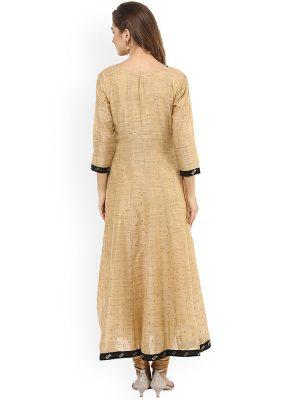 Women Brown Woven Design Anarkali Kurta