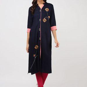 Women Navy Blue & Yellow Embroidered Straight Kurta