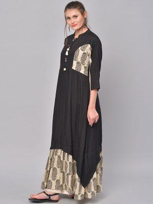 Women Black & Beige Printed A-Line Kurta