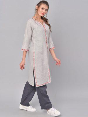 Women Grey & Red Embroidered Straight Kurta