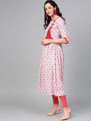 Women Pink Printed A-Line Kurta