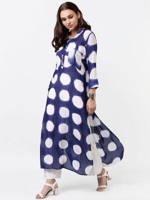 Women Blue & White Dyed A-Line Kurta