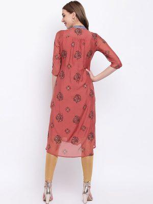 Women Tan Printed Straight Kurta