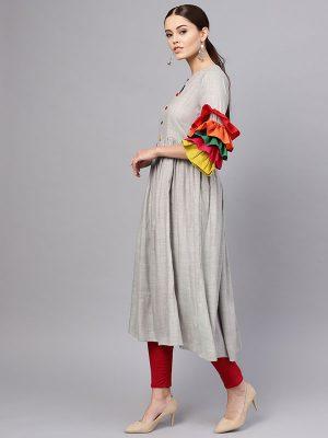 Women Grey Solid A-Line Kurta
