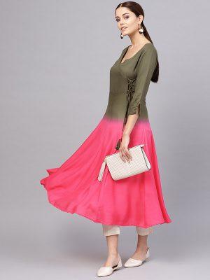 Women Olive Green & Pink Dyed Angrakha A-Line Kurta