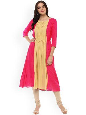 Women Pink & Yellow Colourblocked A-Line Kurta