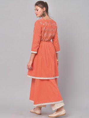 Women Orange & White Printed Anarkali Kurta