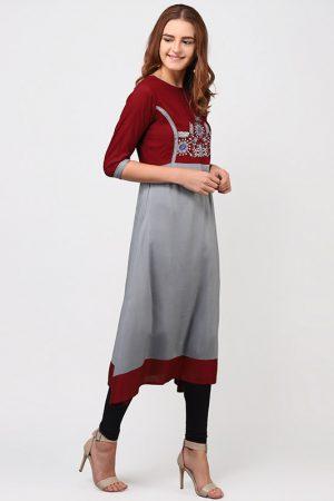 Women Grey & Maroon Embroidered A-Line Kurta