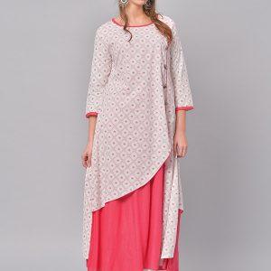 Women Pink & White Printed A-Line Kurta