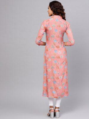 Women Pink & Blue Printed Straight Kurta