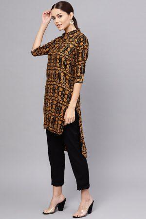 Women Brown & Black Printed Straight Kurta