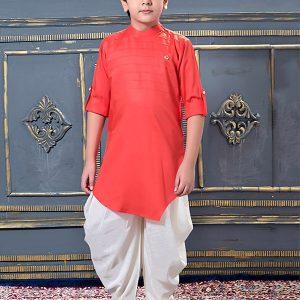 Gajri Modal Satin Party Wear Pleats Work Kids Dhoti Kurta