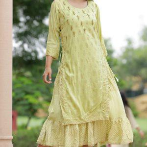 raksha bandhan special Green Rayon Heavy Work Kurti