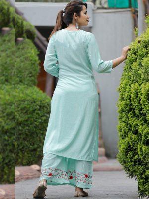 Blue Embroidery Rayon Kurta Plazo