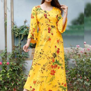 Beautiful Flower Printed Gown Cum Kurti