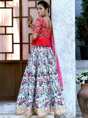 Bridesmaid Mulit Color Colour Sequence Embroidered Work & Digital Print Festive Lehenga Choli