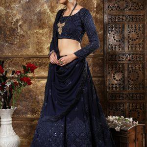 Bridesmaid Navy Blue Colour Thread & Sequence Embroidered Work Festive Lehenga Choli