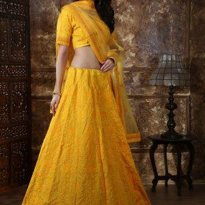 Bridesmaid Yellow Colour Thread & Sequence Embroidered Work Festive Lehenga Choli