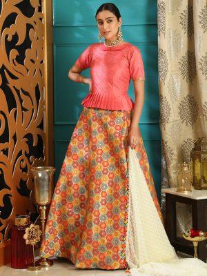 Girly Pink Colour Jacquard Festive Lehenga Choli