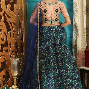 Girly Multi Color Colour Jacquard Festive Lehenga Choli