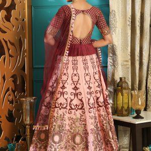 Girly Maroon & Pink Colour Metalic Foil Work Festive Lehenga Choli