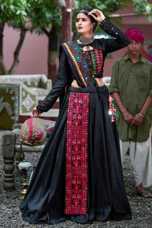 Raas Black Colour Resham Embroidered Work & Real Mirror Navratri Lehenga Choli