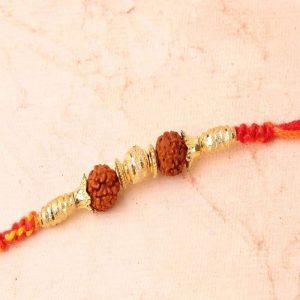 Golden Beads with Rudraksha Rakhi