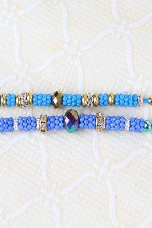 Pair of Colorful Small Beads Rakhi