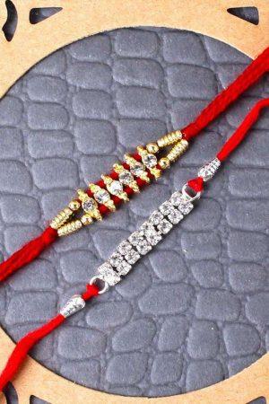 Diamond Studded Two Designer Rakhi