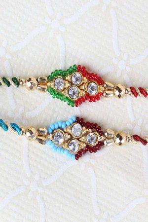 Combo of Two Diamond Studded Dial with Zardoshi Strings Rakhi