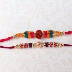 Marvelous Two Colorful Beads Rakhi
