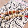 Combination of Rudraksha and Pearl Beads Rakhi
