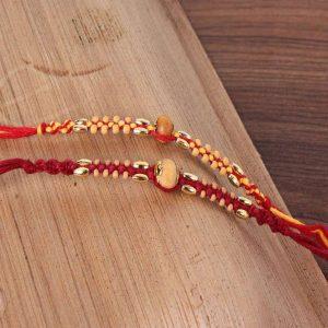 Twin Wooden Striking Beads Rakhi