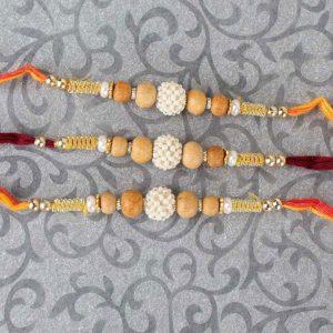 Three Pearl Rhinestone and Wooden Beads Rakhi