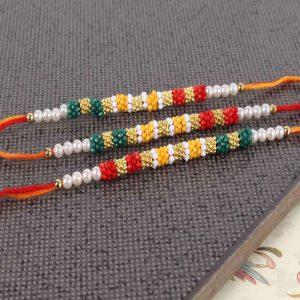 Pack of Three Colorful Tiny Beads Rakhi