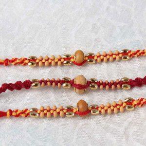 Combo of Three Wooden Beads Rakhi
