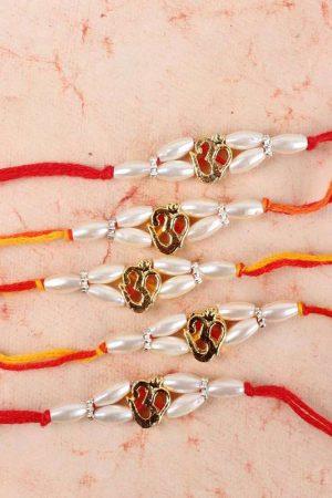 Striking Five Om Pearl Beads Rakhi